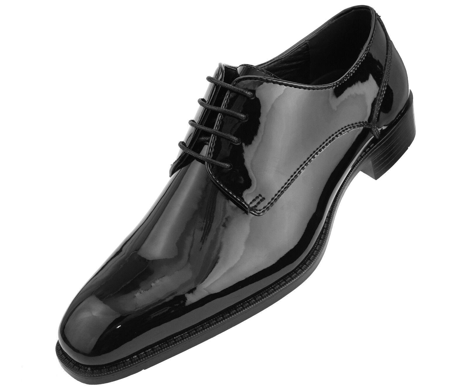 Fashion Shoebox Mens Patent Leather Tuxedo Dress Shoes Lace up Pointed Toe Oxfords