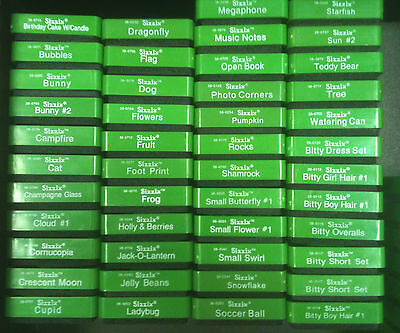 Choice Sizzix Original Small GREEN Dies, U Pick Lot, Die Cut Set (L-Z) Cuttlebug