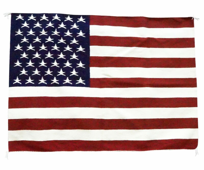 "Lenora Joe, American Flag, Pictorial, Navajo Handwoven, 40"" x 54"""