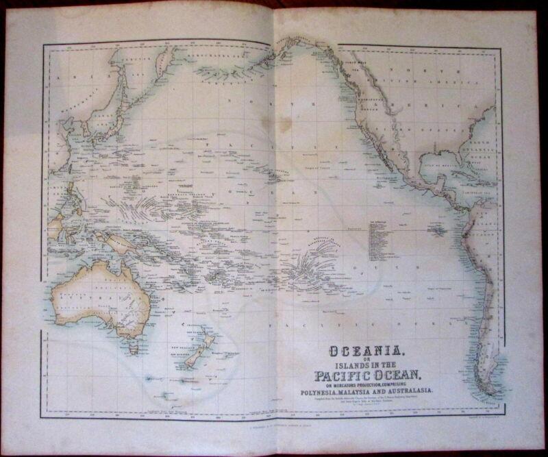 Oceania Australia hooked Lake Torrens c.1855 Fullarton large map Pacific islands