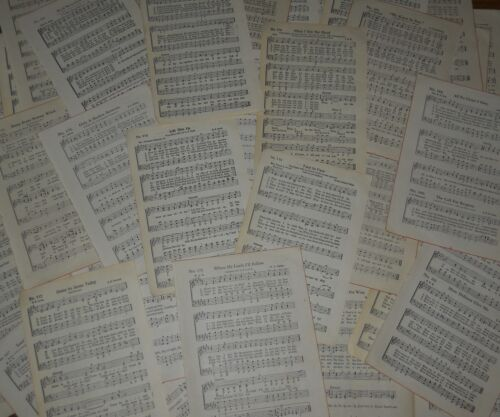 30 Pc Vintage assorted scrapbook paper HYMNS sheet music crafts collage wrapping