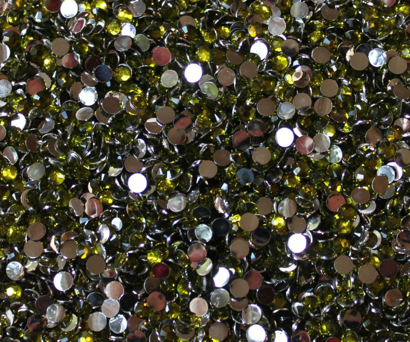 1000 Crystal Flat Back Resin Rhinestones Gems 60 colors, 2mm, 3mm, 4mm, 5mm, 6.5 OLIVINE
