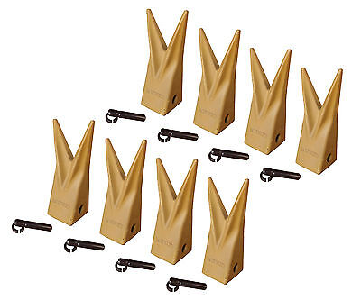 Backhoe Bucket Cat Style Tiger Teeth With Pins Retainers Set Of 8 1u3202wtl
