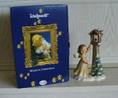 Goebel Weihnachtsengel mit Vogelhaus/Glockenturm, champagner, OVP