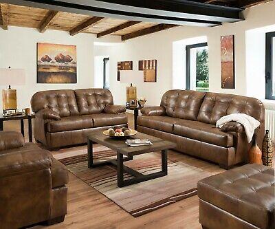 Acme Furniture Saturio Brown Top Grain Leather Sofa and Loveseat