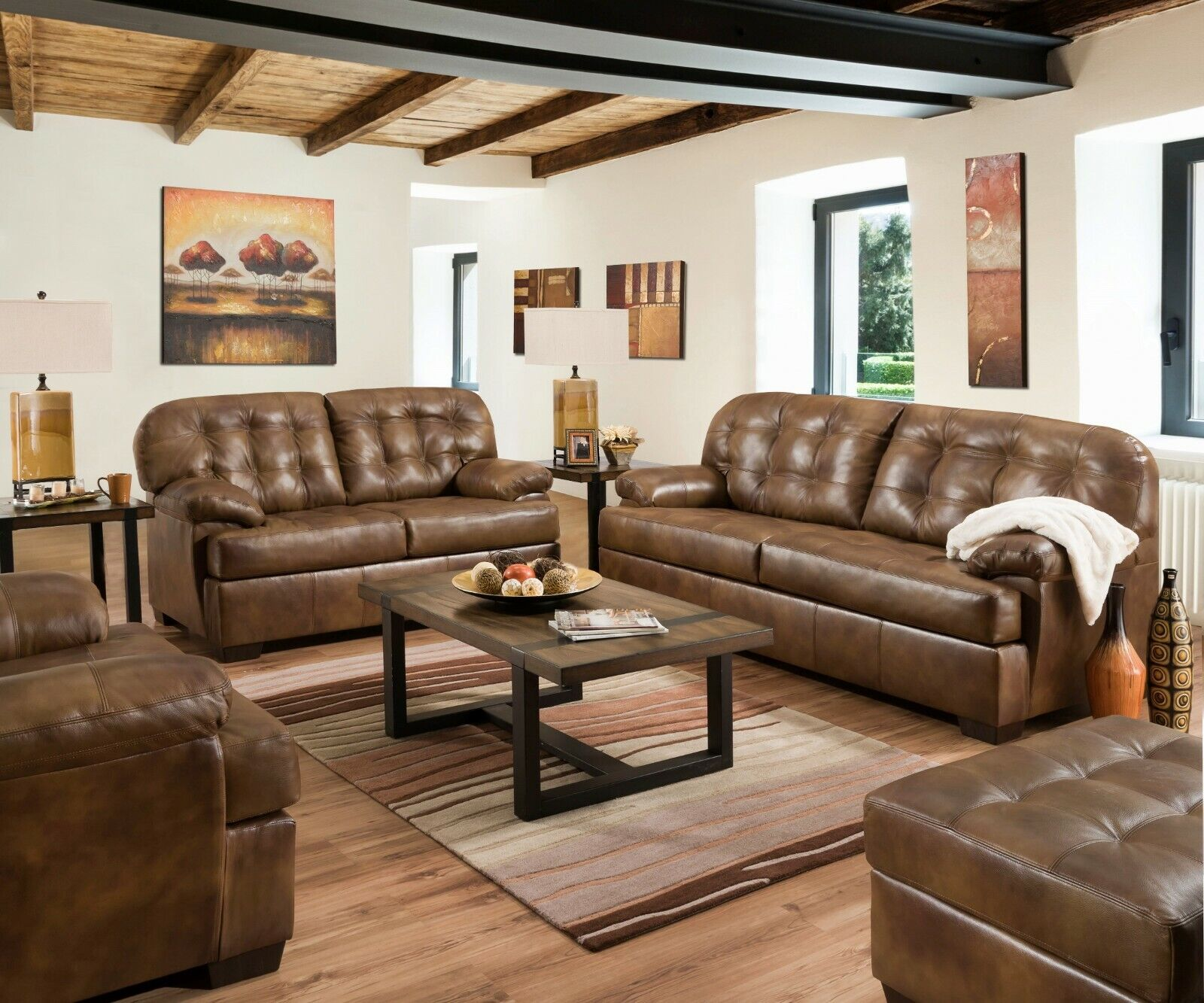 Acme Furniture Saturio Brown Top Grain Leather Sofa and Love