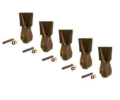 5 Backhoe Bucket Teeth 208-5235 - Penetration Tip W Pin Fits Cat Drs230
