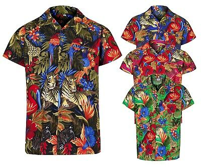 Jungle Themed Costumes (MENS HAWAIIAN SHIRT JUNGLE THEMED PARTY HOLIDAY BEACH FANCY DRESS STAG DO)