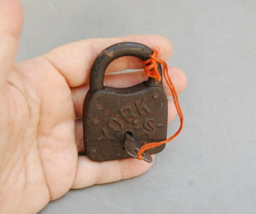 "York Padlock & Key Antique Lock 3"" x 2"" x 1/2"" Cast Iron Vintage Hardware"