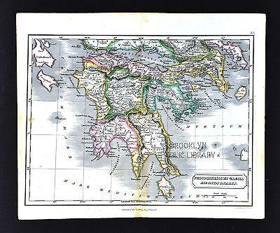 1831 Carey & Lea Map Ancient Greece Peloponnesus - Athens Sparta Corinth Olympia