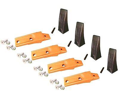 4 Bobcat Style Skid Steer Bucket Teeth X156 W Bolt-on Shanks Pins Hardware