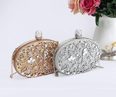 New Stylish Women's Floral Diamante Embellished Clutch Bag/Wedding/Party/Prom