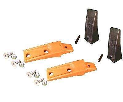 2 Bobcat Style Skid Steer Bucket Teeth X156 W Bolt-on Shanks Pins Hardware