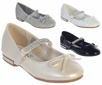 New Black White Ivory Silver Girls Dress Shoes Flats Rhinestones Wedding - Girls Ivory Flats