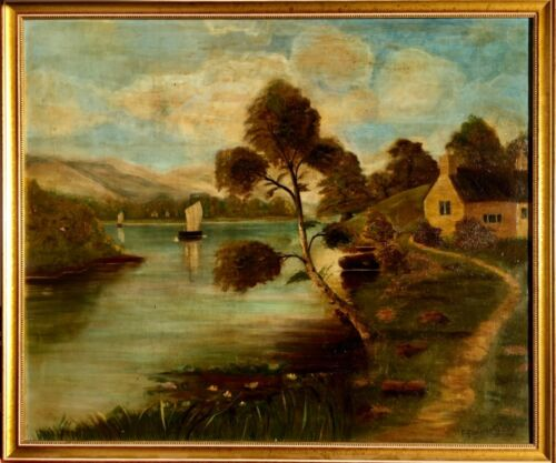 Antique Folk Art Landscape Oil Painting Hudson River School Signed F. Stevenson
