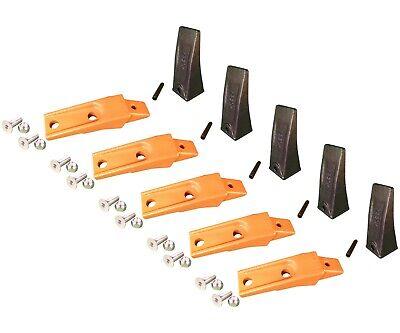 5 Bobcat Style Skid Steer Bucket Teeth X156 W Bolt-on Shanks Pins Hardware