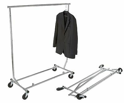 Clothing Rack Rolling Folding Single Bar Rail Salesman Sample Garment Display