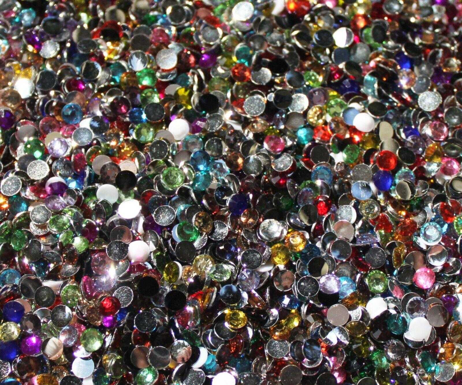 1000 Crystal Flat Back Resin Rhinestones Gems 60 colors, 2mm, 3mm, 4mm, 5mm, 6.5 MIXED REGULAR COLOUR