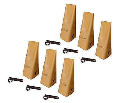 6 Caterpillar Style Backhoe Bucket Dirt Teeth W Pins Retainers - 1u-3202