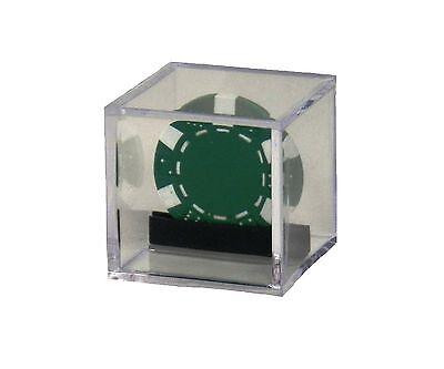 "Custom Single Casino or Poker Chip Clear Acrylic Display Box 2"" x 2"" x 2"""