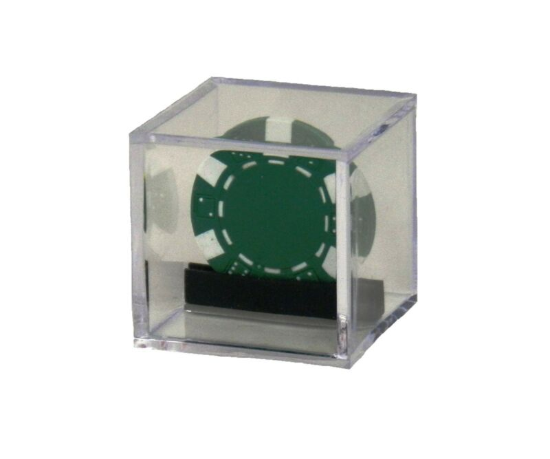 "Custom Single Casino or Poker Chip Clear Acrylic Display Box 2"" x 2"" x 2"""