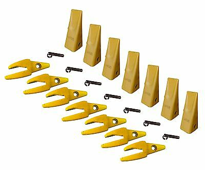 7 - Cat Style J200 Backhoe Bucket Shanks 34 Lip Dirt Teeth 1u-3202 119-3205