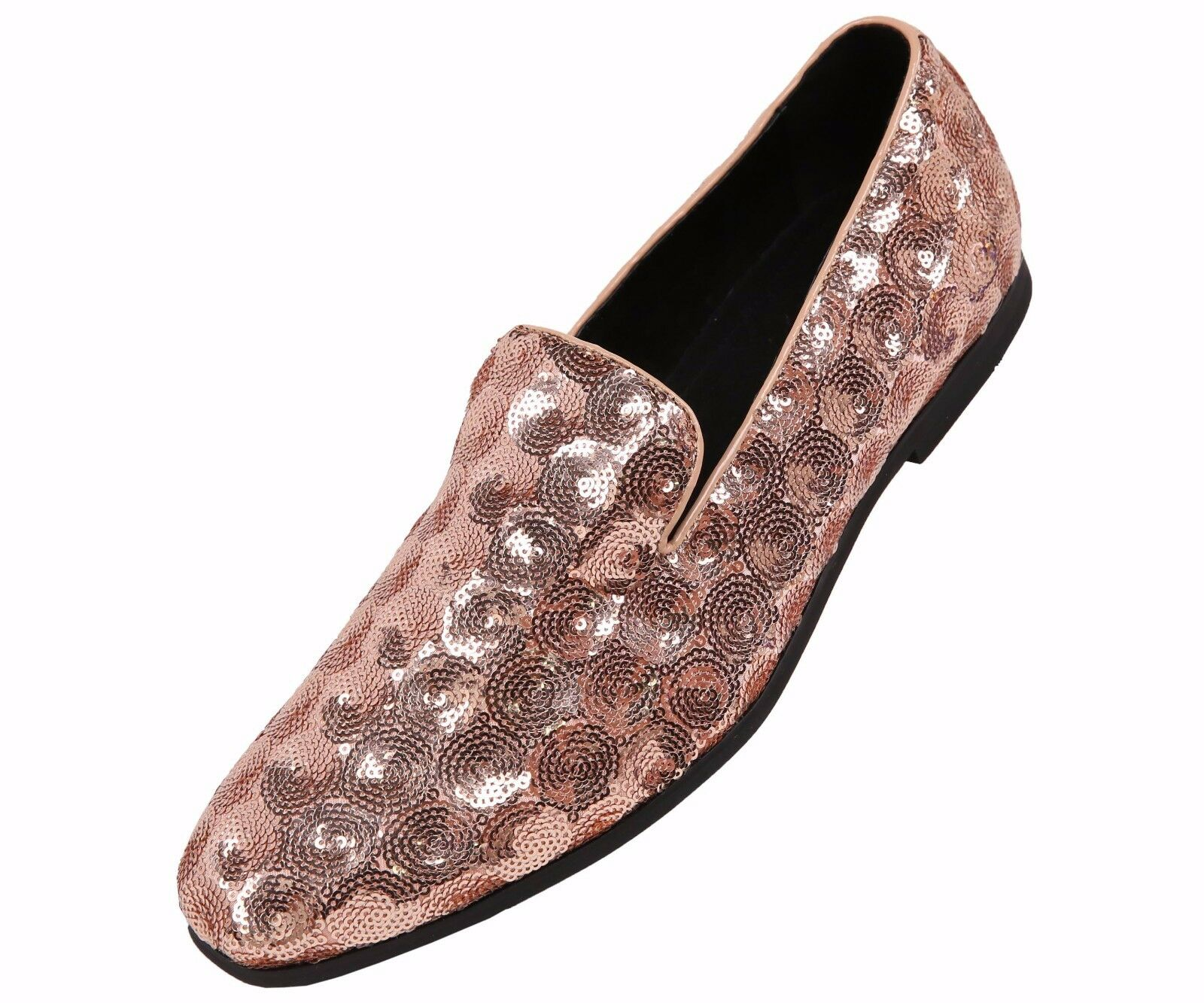 7565779f840e Amali Mens Rose Gold Sequin Circle Patterned Dress Shoe Loafer   Swirl-010