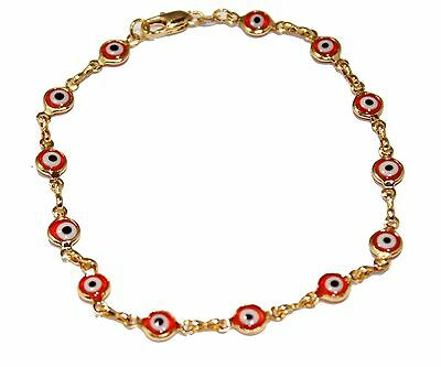 - Evil Eye Anklet Foot Chain 18K Gold Plated  Ankle Charms Bracelet 9.5  Tobillera
