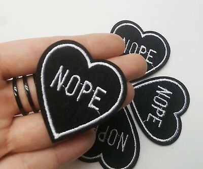 NOPE Black Heart Iron-On/Sew-On Embroidered Patch, Gothic Punk Goth Alternative - Embroidered Heart