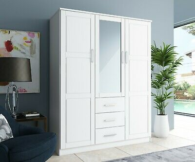 Cosmo 3-Door Wardrobe/Armoire/Closet with Mirror and 3 Drawers by Palace Imports ()
