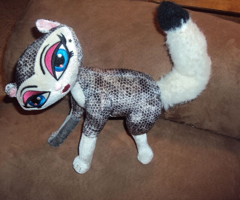 Cat Bratz Petz Fox Black White Pose able stuffed plush kitty