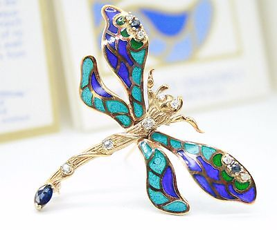 Franklin Mint's House of Igor Carl Faberge 14K Dragonfly Brooch Pin