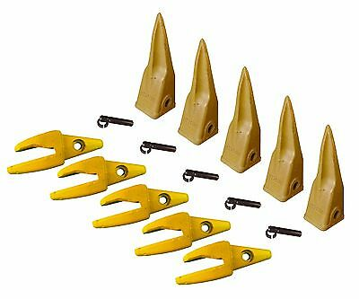 5 - Cat Style J200 Backhoe Bucket Shanks 1 Lip Rock Teeth 1u-3202tl 119-3204