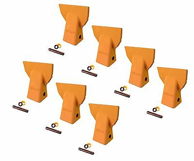 7 - Cat J200 Style Backhoe Bucket Flare Teeth W Pins Retainers- 109-9200