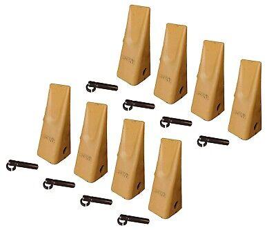 8 Caterpillar Style Backhoe Bucket Dirt Teeth W Pins Retainers - 1u-3202