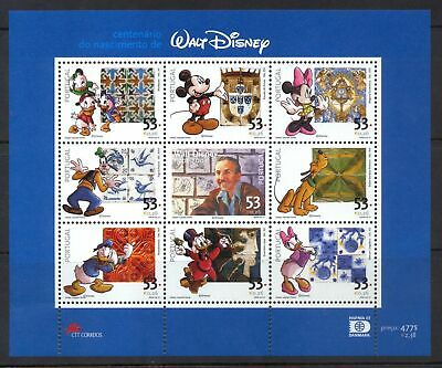 Portugal  - Disney Stamps - 100th Birthday of Walt Disney - Sheet of 9 - MNH
