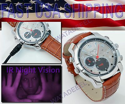 1080p Spy Watch Silver Spear LEATHER Infrared Night Vision Camera Video IR LED