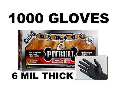 PITBULL Black Nitrile Gloves, 6 mil, Powder Free, Case of 1000, S, M, L, XL (Xl Nitrile Gloves Black)