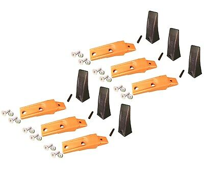 6 Bobcat Style Skid Steer Bucket Teeth X156 W Bolt-on Shanks Pins Hardware