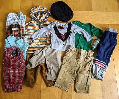 Lot 14 Baby Boys Clothing 6-9 month Fall & Winter Clothes Pants Shirts Tops