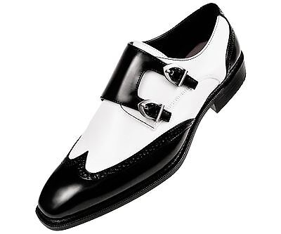 Sio Mens Black & White Smooth Double Monk Strap Wingtip Dress Shoe : (Black & White Wingtips)
