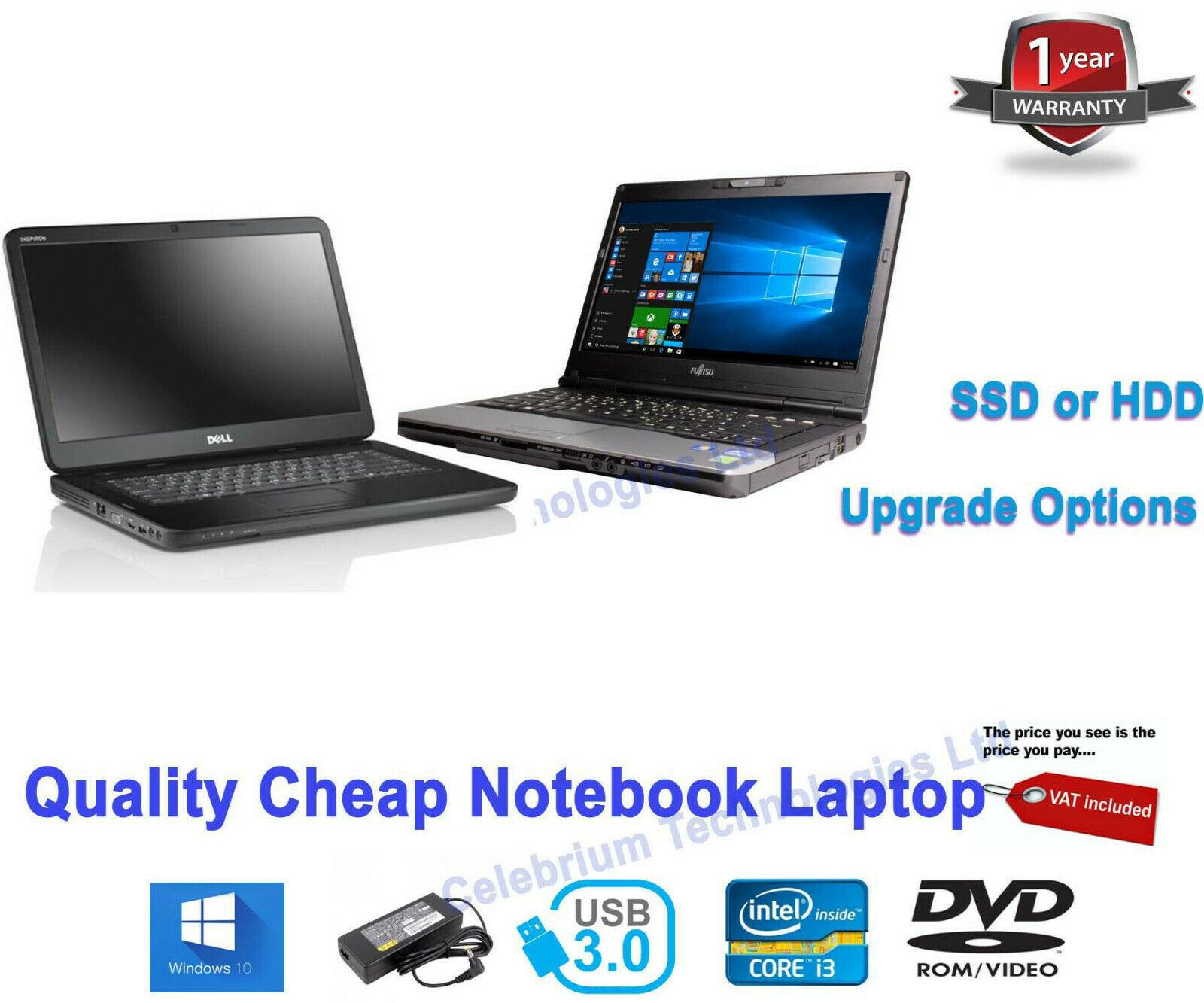 Laptop Windows - Cheap Windows 10 STUDENT LAPTOP dual Core i5 i3 2.50GHz 4GB 500GB HDD 200GB SSD