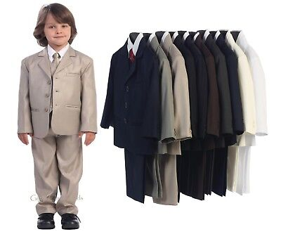 New Boys Formal Suit 5 Pc Wedding First Communion Easter Graduation Kids Husky 3 - First Communion Suit Boy