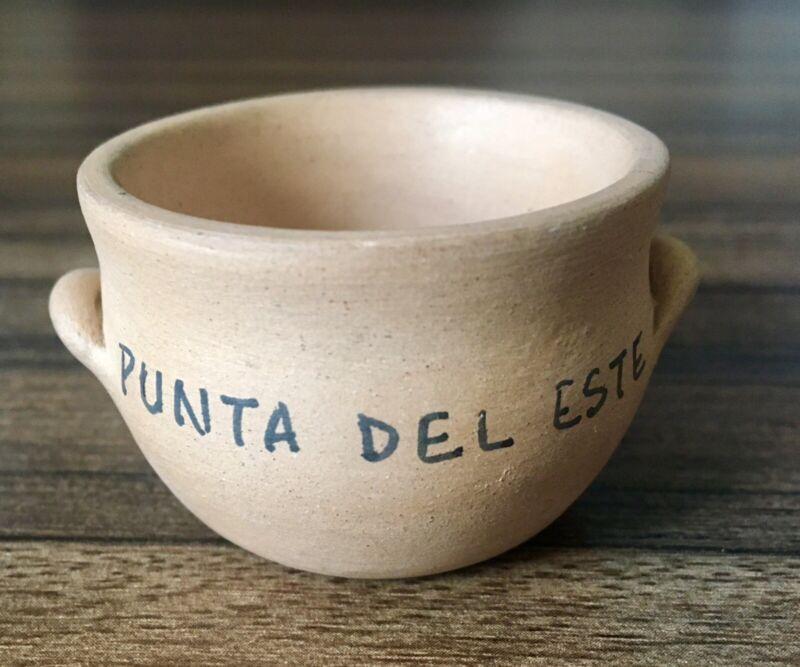 Unique Punta del Este Uruguay Souvenir Pottery Miniature pot with handles