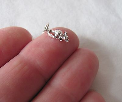 Small Sterling Silver Mouse miniature (Sterling Silver Mouse Charm)