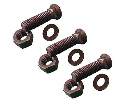 3 - Plow Bolt And Nut For Blades Cutting Edges - 34-10x3 - Grade 8 Dome Head