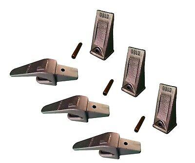 3 Ex Backhoe Skid Bucket Weld-on Shanks Teeth Pins 1 Lip- 550x156 X156