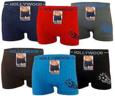 6 Seamless Boxer Briefs Microfiber HOLLYWOOD PRO SOCCER Compression Underwear