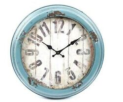 Antique Blue Rustic Vintage Battery Operated Distressed Metal Wall Clock home
