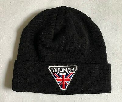 - Triumph Motorcycle Knit Hat Black New British Cafe Racer Cap Retro Moto